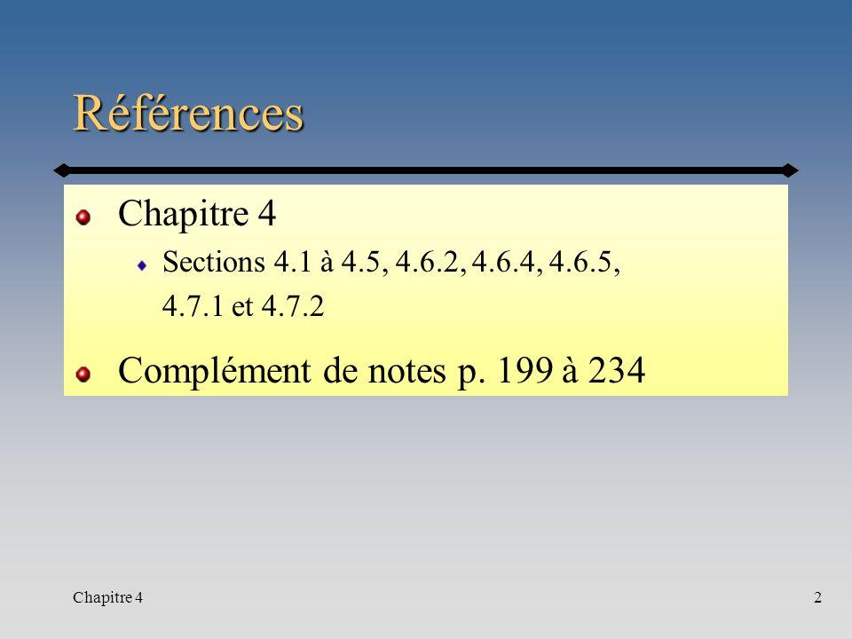 Références Chapitre 4 Complément de notes p. 199 à 234