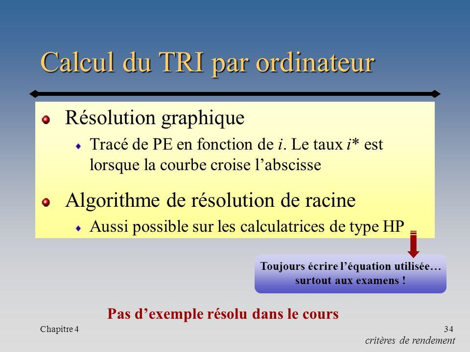 Calcul du TRI par ordinateur