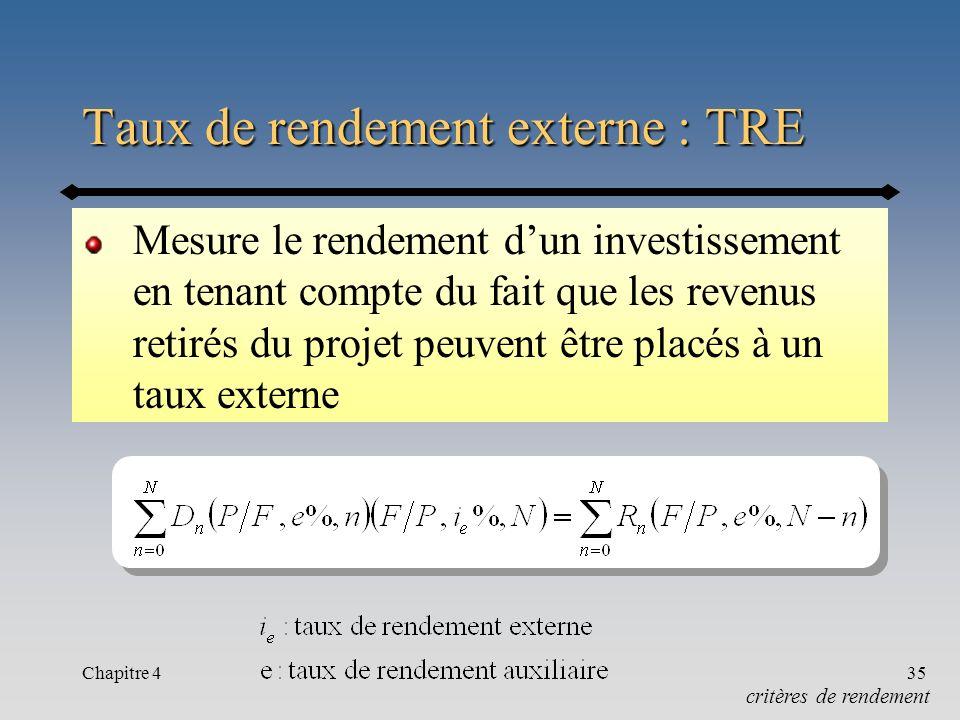 Taux de rendement externe : TRE