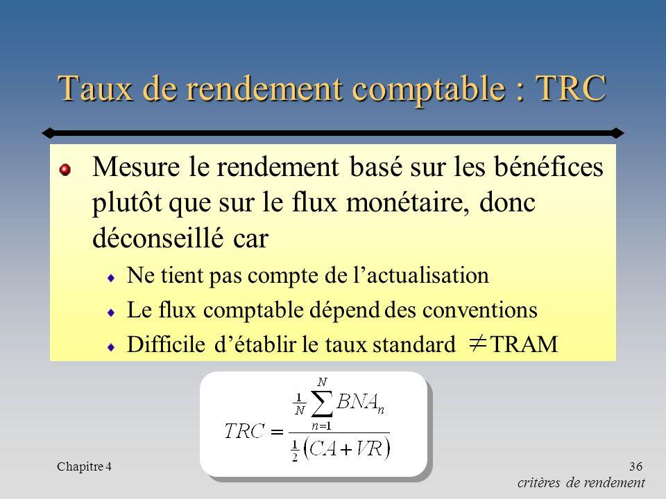 Taux de rendement comptable : TRC