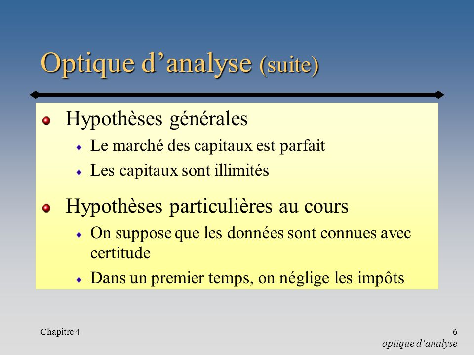 Optique d'analyse (suite)