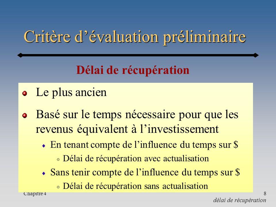 Critère d'évaluation préliminaire