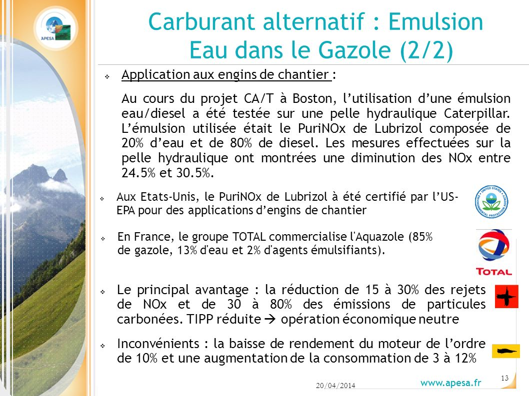 Carburant alternatif : Emulsion Eau dans le Gazole (2/2)