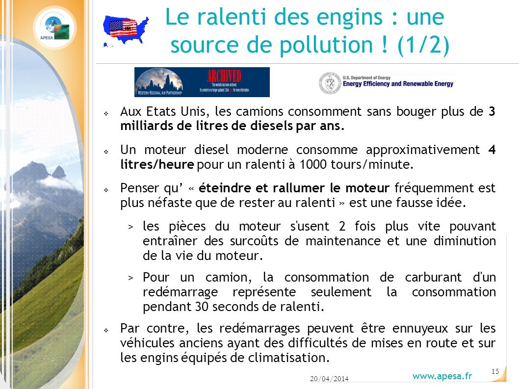 Le ralenti des engins : une source de pollution ! (1/2)
