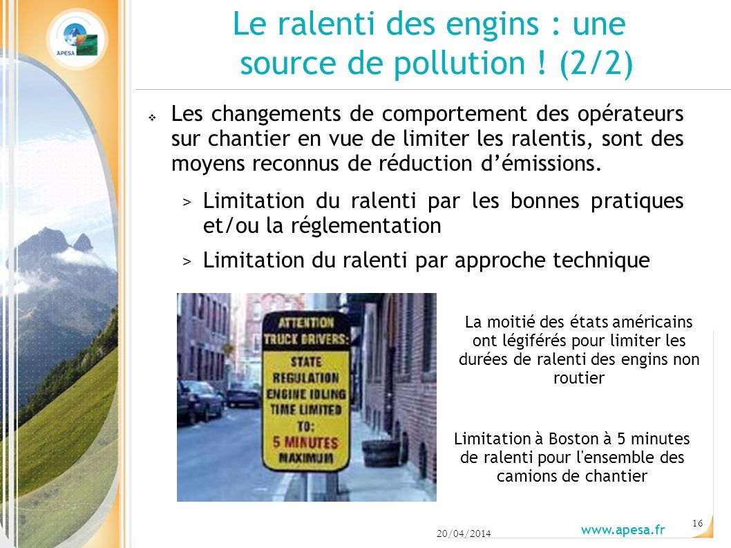 Le ralenti des engins : une source de pollution ! (2/2)