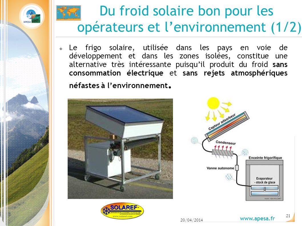 Du froid solaire bon pour les opérateurs et l'environnement (1/2)