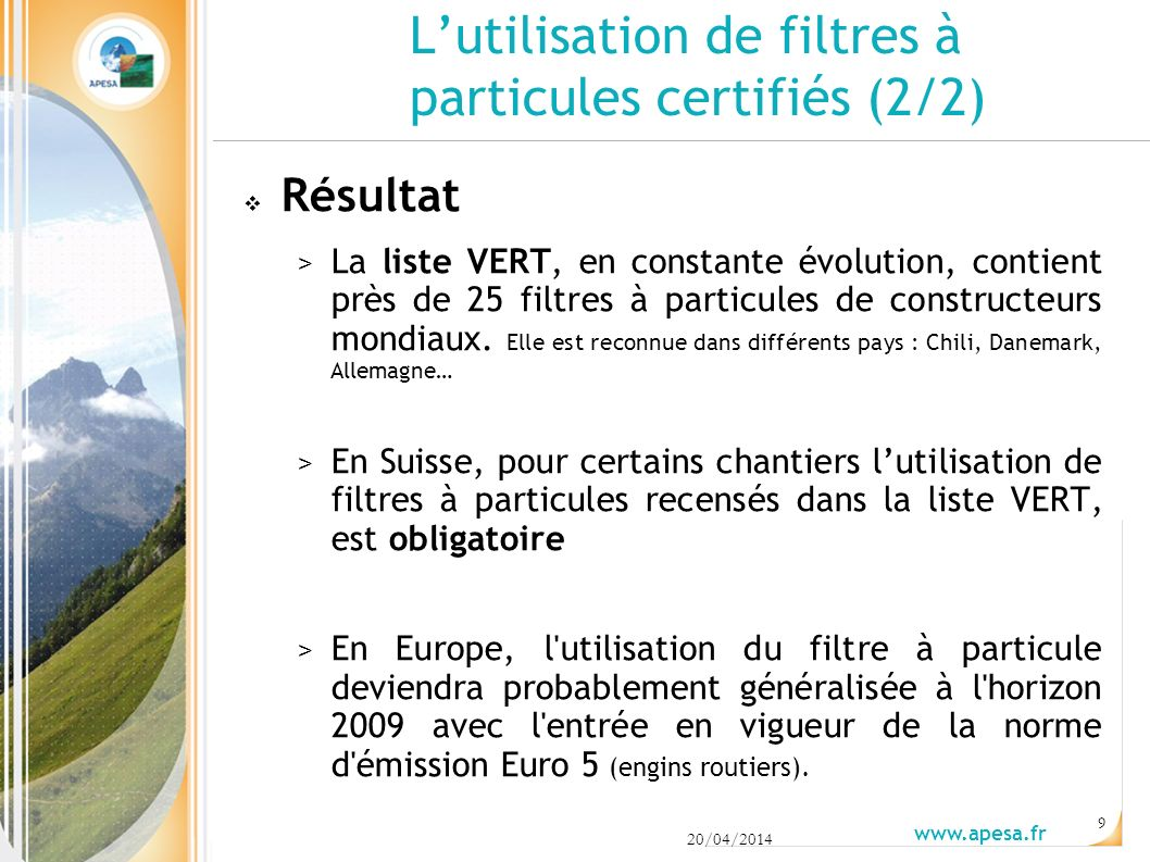 L'utilisation de filtres à particules certifiés (2/2)