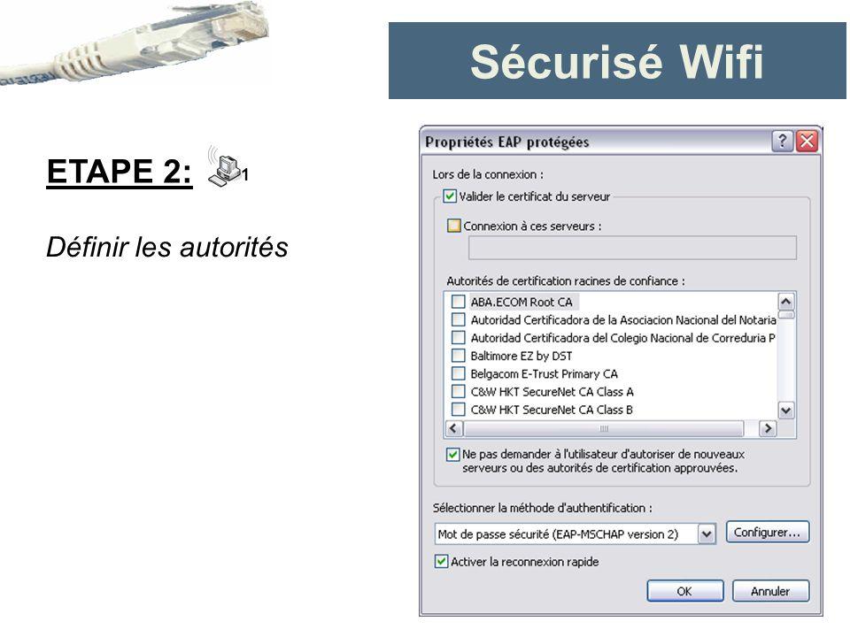 Sécurisé Wifi ETAPE 2: 1 Définir les autorités