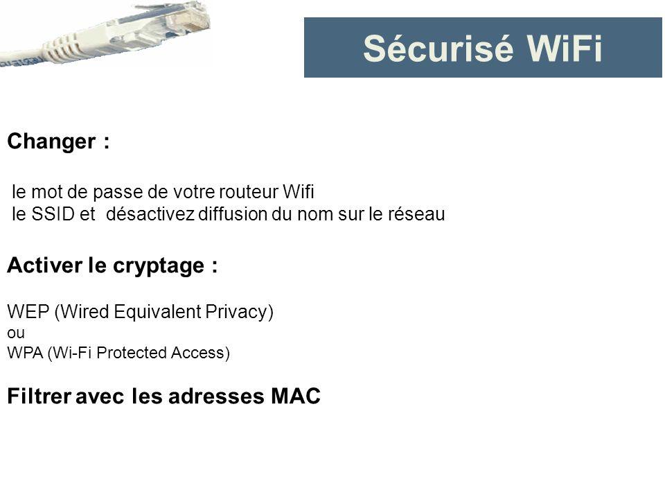 Sécurisé WiFi Changer : Activer le cryptage :