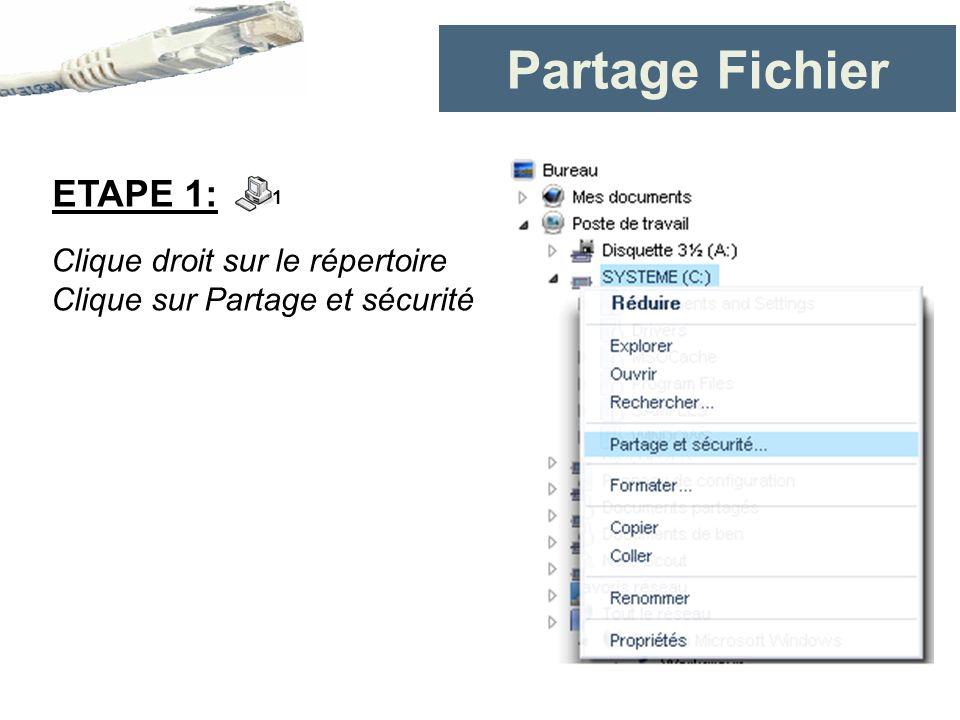 Partage Fichier ETAPE 1: Clique droit sur le répertoire