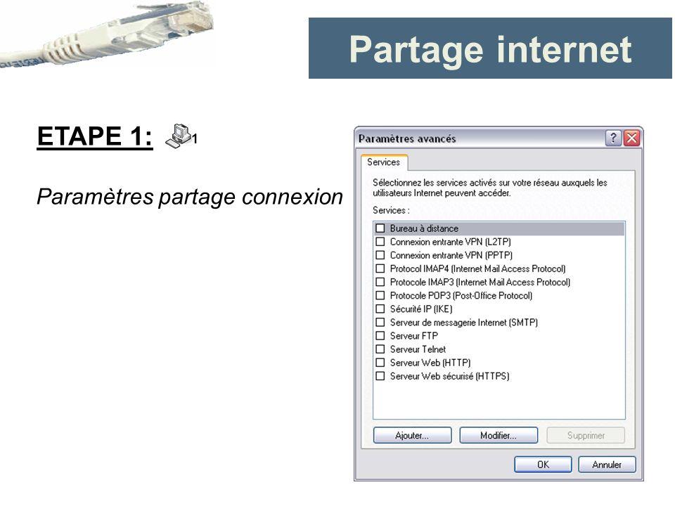 Partage internet ETAPE 1: 1 Paramètres partage connexion
