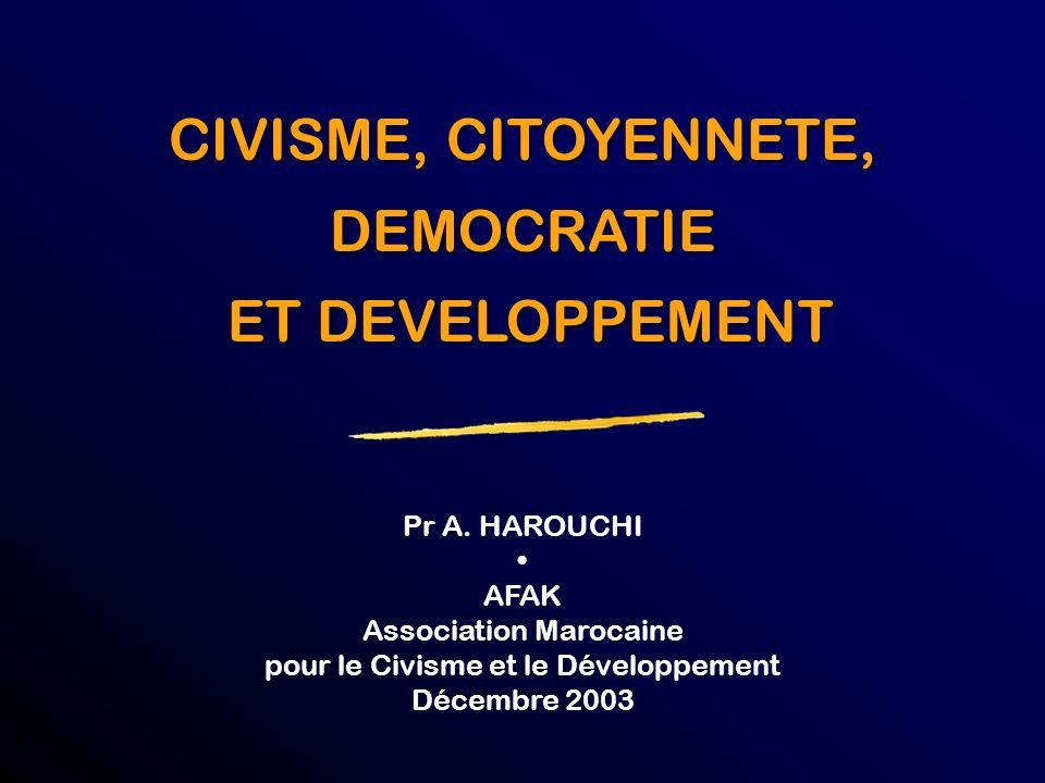 CIVISME, CITOYENNETE, DEMOCRATIE ET DEVELOPPEMENT Pr A. HAROUCHI •