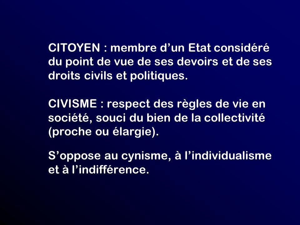 CITOYEN : membre d'un Etat considéré du point de vue de ses devoirs et de ses droits civils et politiques.