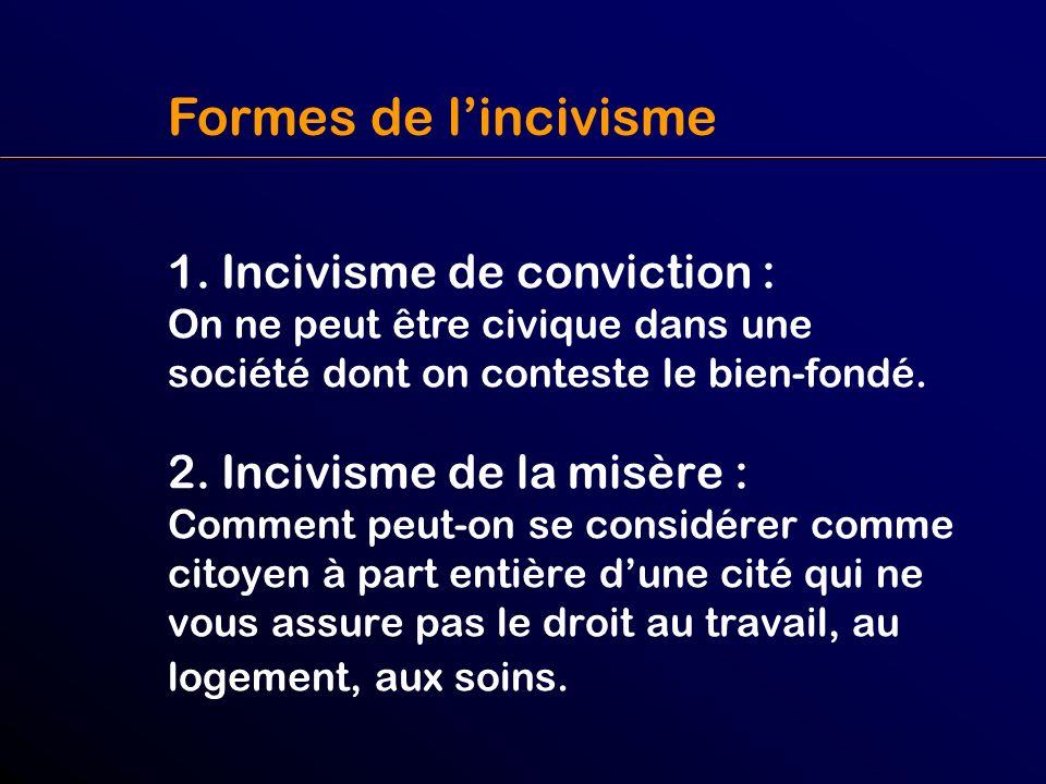 Formes de l'incivisme 1. Incivisme de conviction : On ne peut être civique dans une société dont on conteste le bien-fondé.