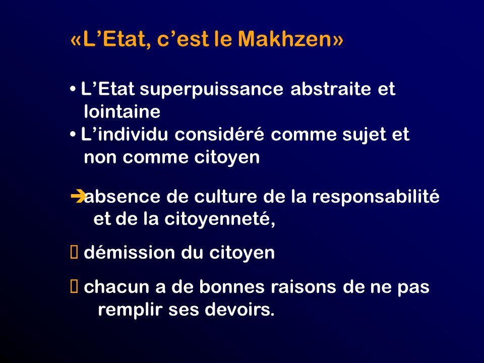 «L'Etat, c'est le Makhzen» • L'Etat superpuissance abstraite et lointaine • L'individu considéré comme sujet et non comme citoyen