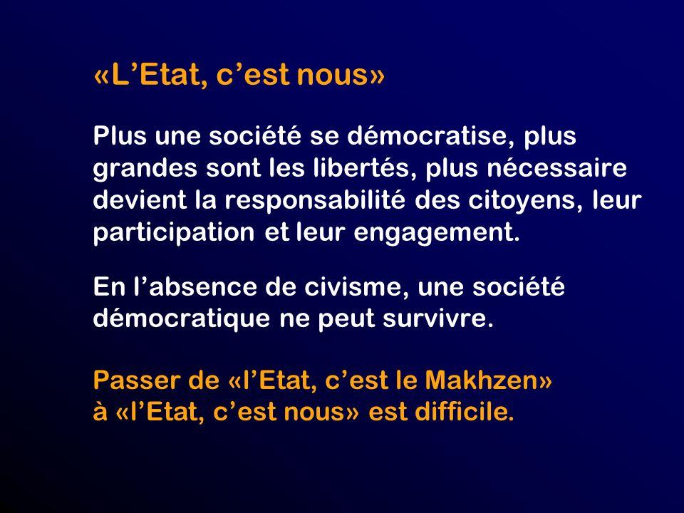 «L'Etat, c'est nous» Plus une société se démocratise, plus grandes sont les libertés, plus nécessaire devient la responsabilité des citoyens, leur participation et leur engagement. En l'absence de civisme, une société démocratique ne peut survivre.