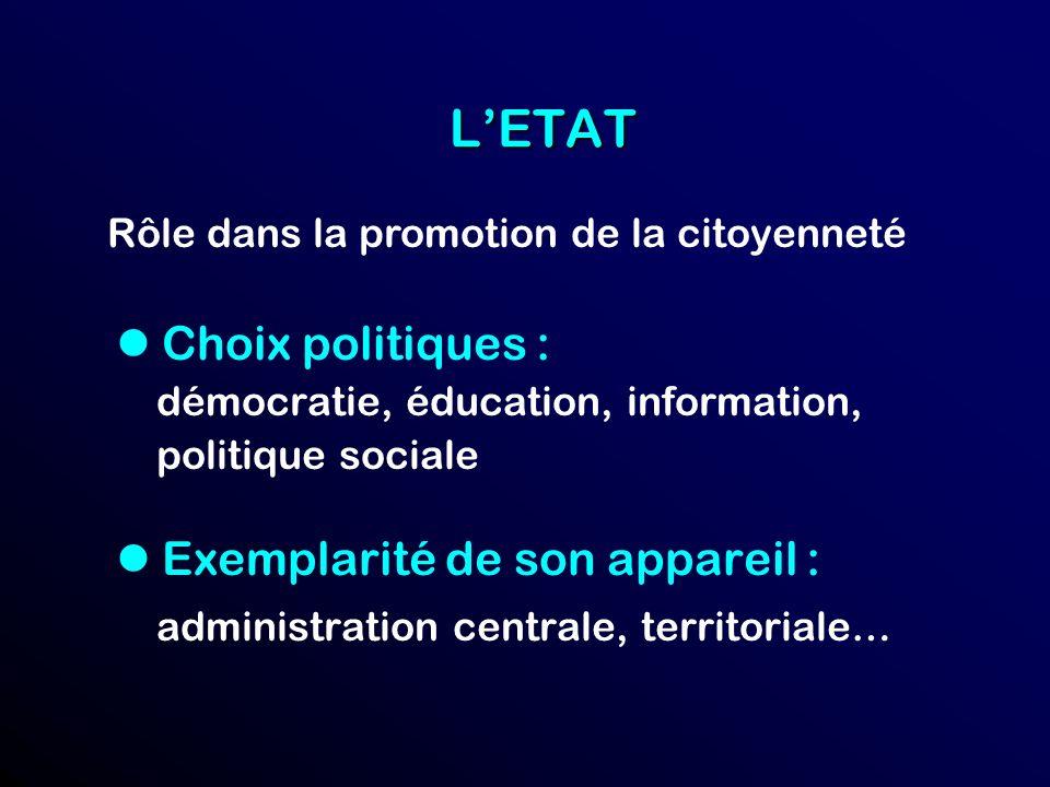 L'ETAT l Choix politiques : l Exemplarité de son appareil :