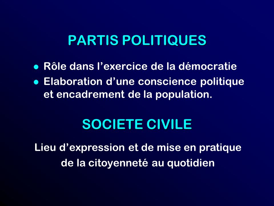 PARTIS POLITIQUES SOCIETE CIVILE Rôle dans l'exercice de la démocratie