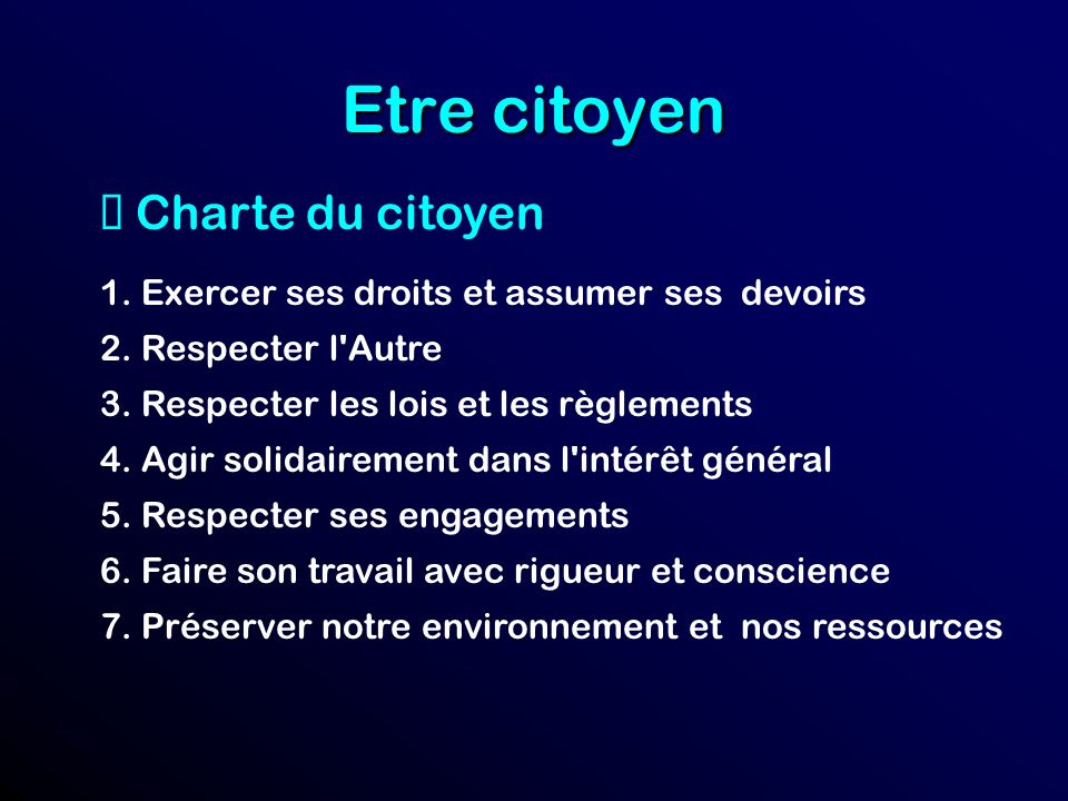Etre citoyen è Charte du citoyen