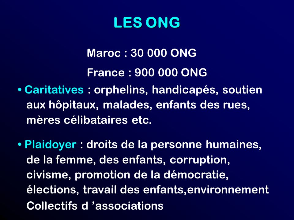 LES ONG Maroc : 30 000 ONG France : 900 000 ONG