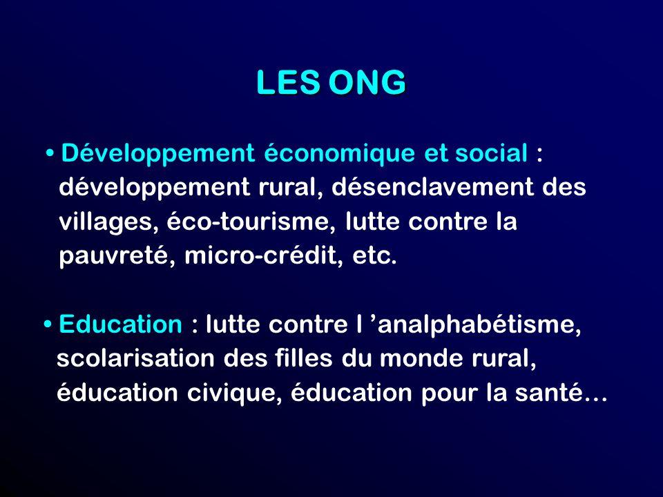 LES ONG • Développement économique et social :