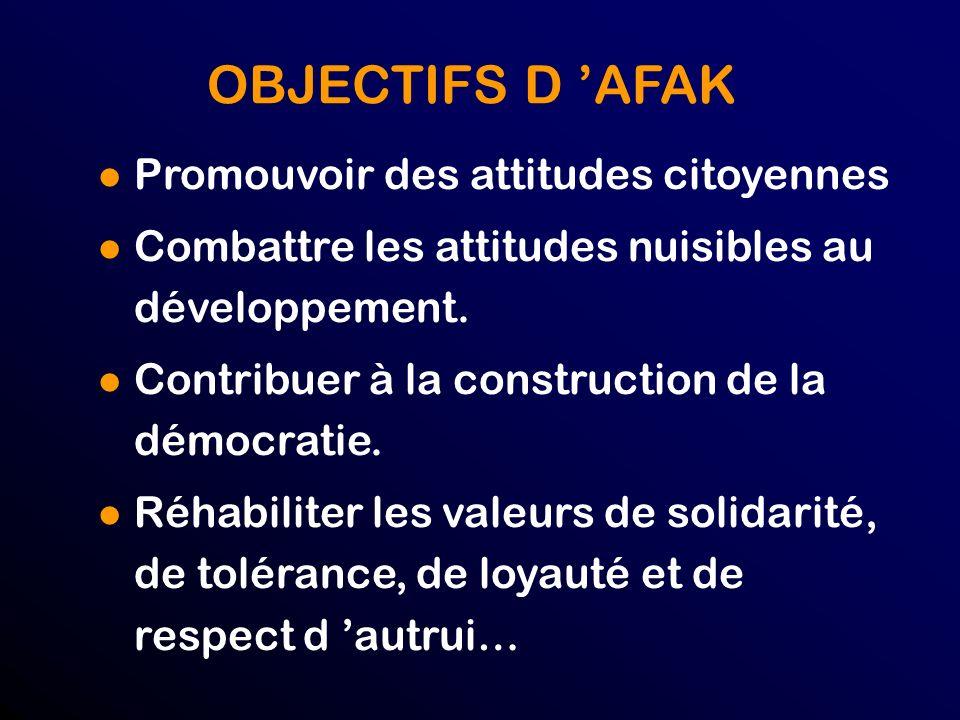 OBJECTIFS D 'AFAK Promouvoir des attitudes citoyennes