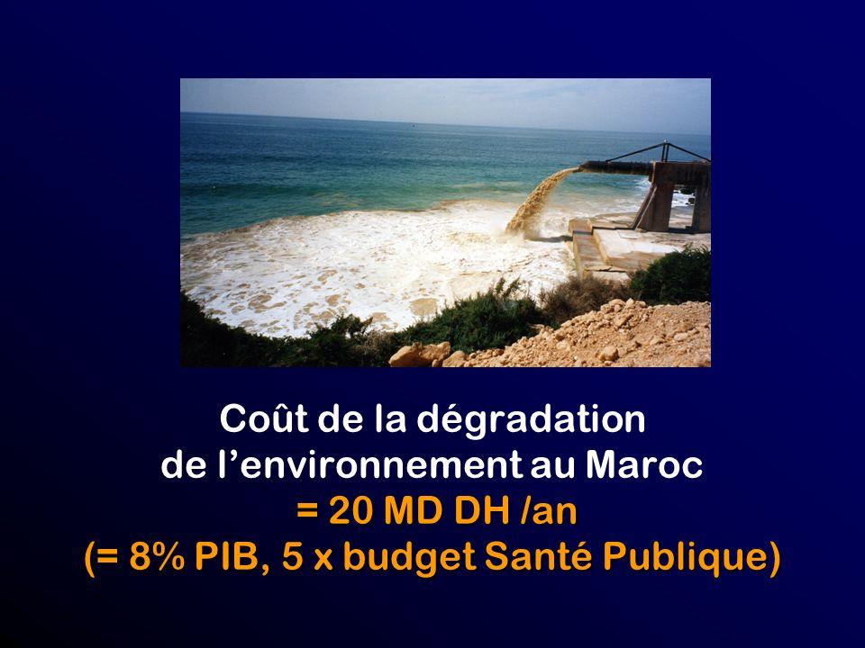 Coût de la dégradation de l'environnement au Maroc = 20 MD DH /an (= 8% PIB, 5 x budget Santé Publique)