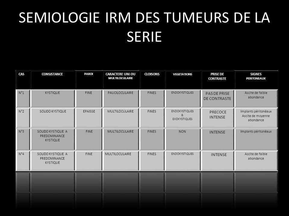 SEMIOLOGIE IRM DES TUMEURS DE LA SERIE