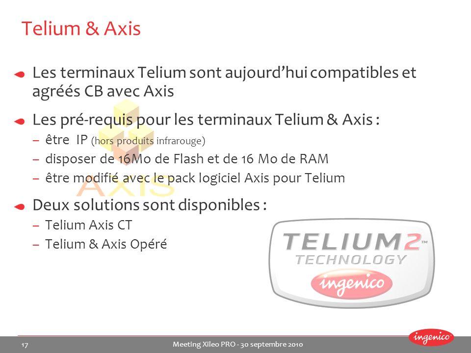Telium & Axis Les terminaux Telium sont aujourd'hui compatibles et agréés CB avec Axis. Les pré-requis pour les terminaux Telium & Axis :