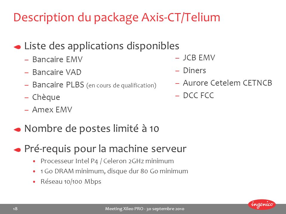 Description du package Axis-CT/Telium