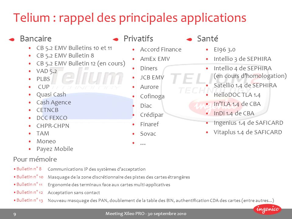 Telium : rappel des principales applications