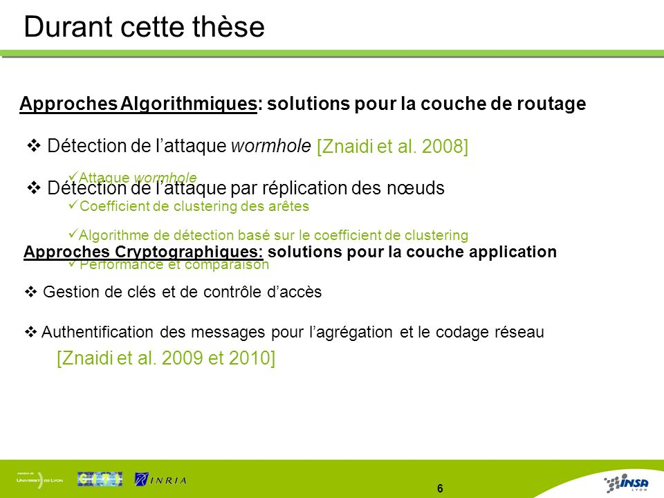 Durant cette thèse Approches Algorithmiques: solutions pour la couche de routage. Détection de l'attaque wormhole.