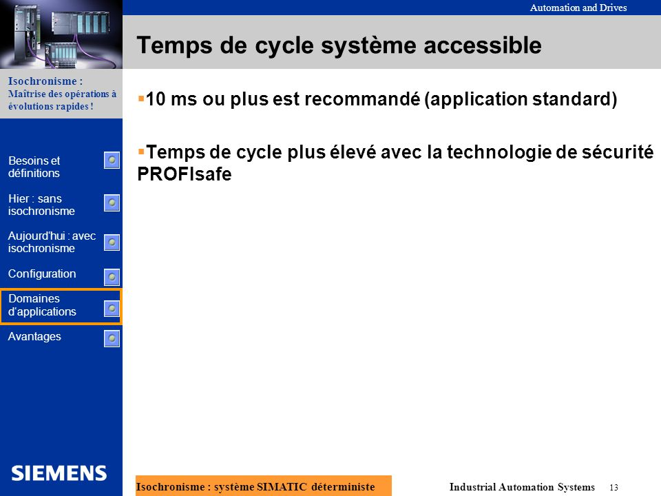 Temps de cycle système accessible