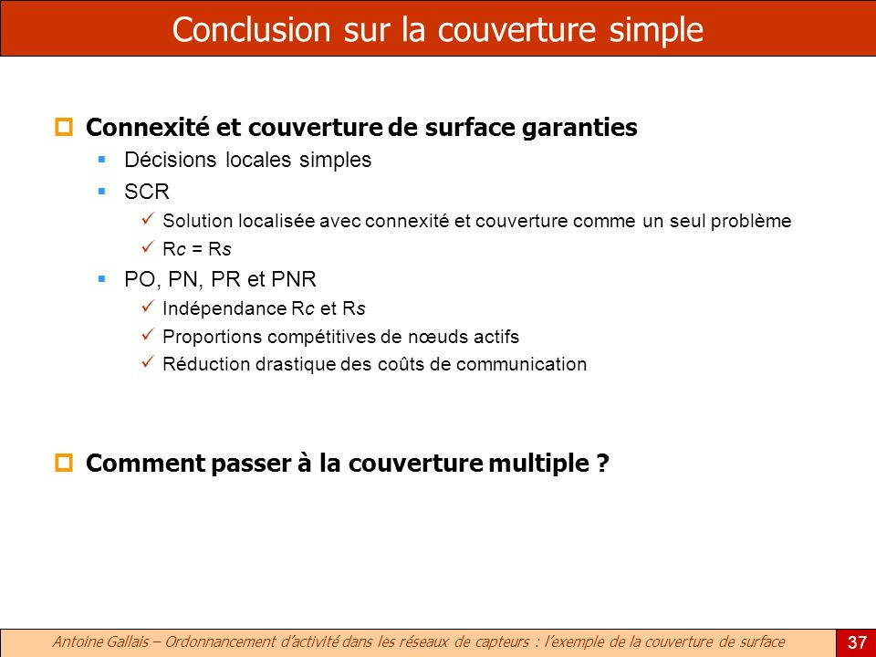 Conclusion sur la couverture simple