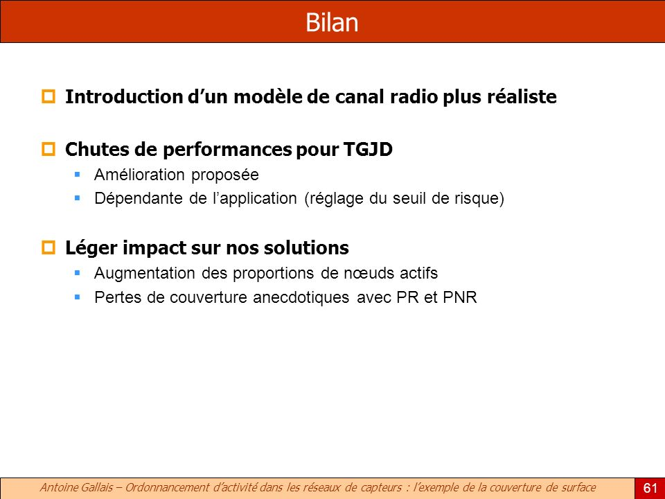 Bilan Introduction d'un modèle de canal radio plus réaliste