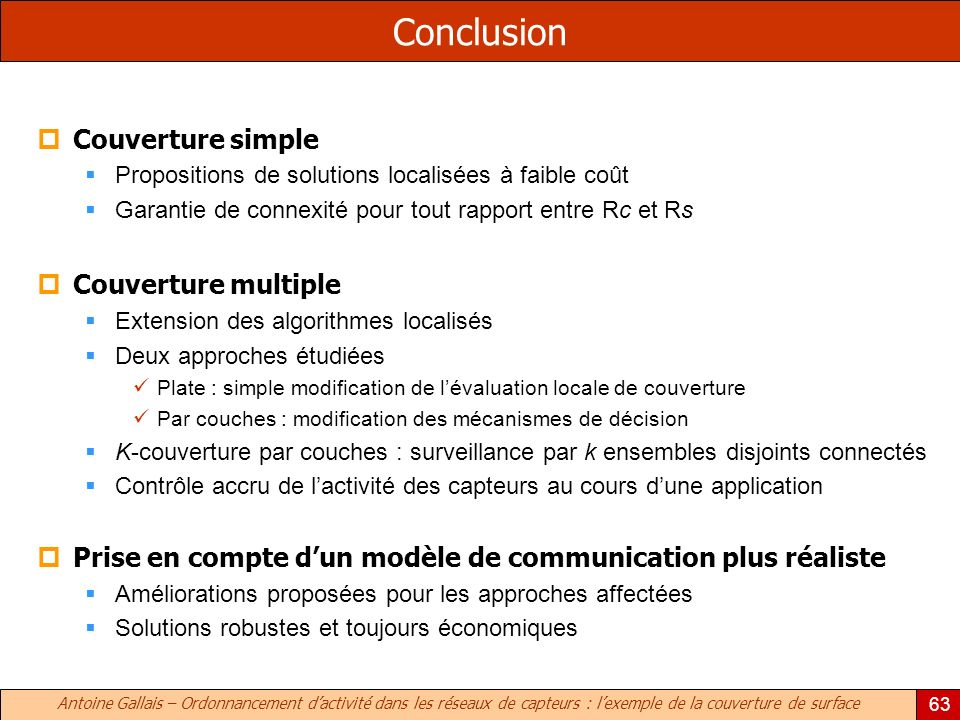 Conclusion Couverture simple Couverture multiple