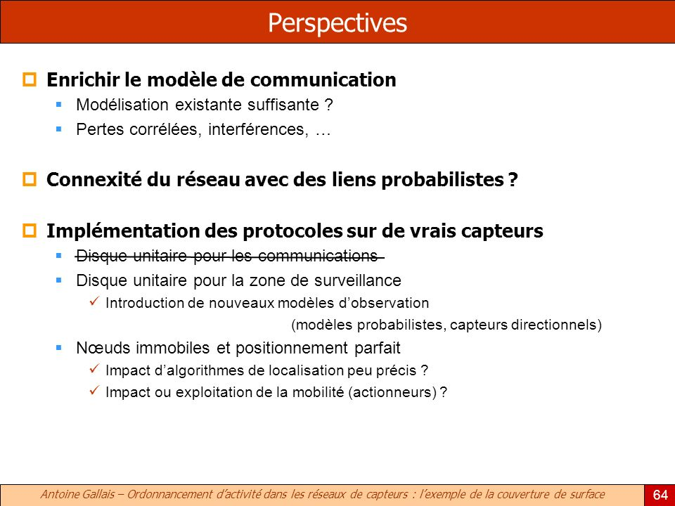 Perspectives Enrichir le modèle de communication