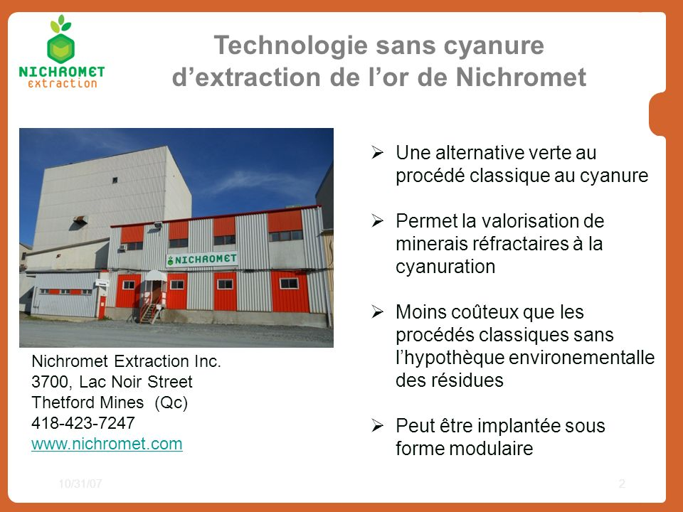 Technologie sans cyanure d'extraction de l'or de Nichromet