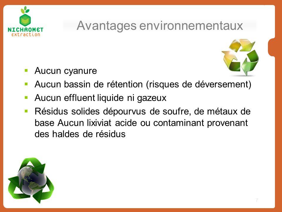 Avantages environnementaux