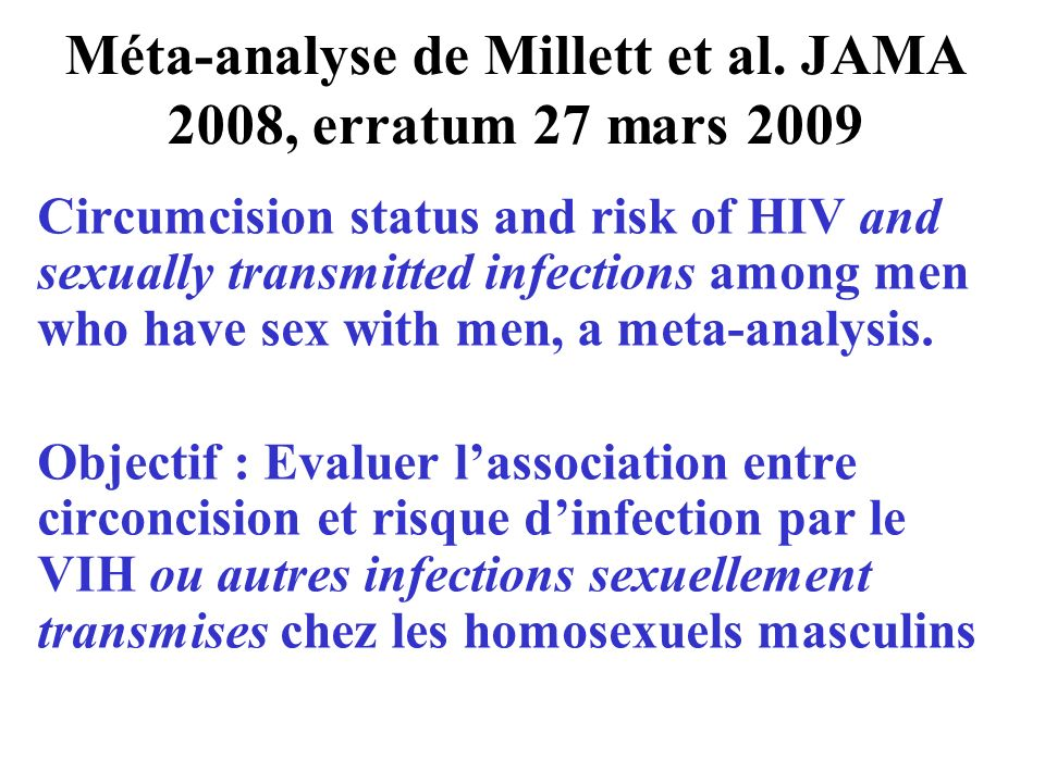 Méta-analyse de Millett et al. JAMA 2008, erratum 27 mars 2009
