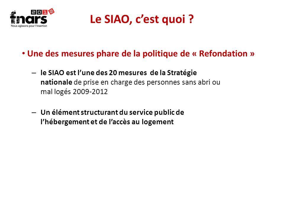 Le SIAO, c'est quoi Une des mesures phare de la politique de « Refondation »