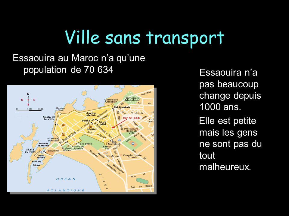 Ville sans transport Essaouira au Maroc n'a qu'une population de 70 634. Essaouira n'a pas beaucoup change depuis 1000 ans.