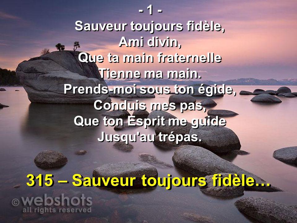 315 – Sauveur toujours fidèle…