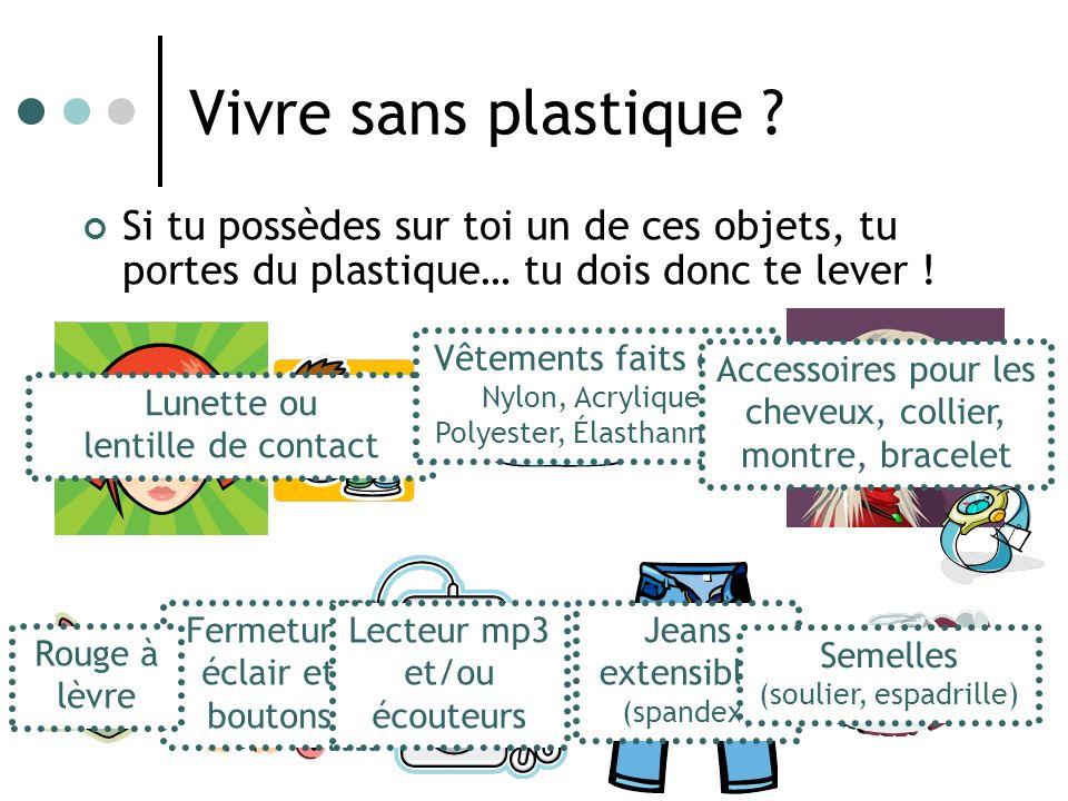 Vivre sans plastique Si tu possèdes sur toi un de ces objets, tu portes du plastique… tu dois donc te lever !