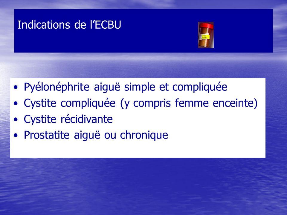 Indications de l'ECBU Pyélonéphrite aiguë simple et compliquée. Cystite compliquée (y compris femme enceinte)