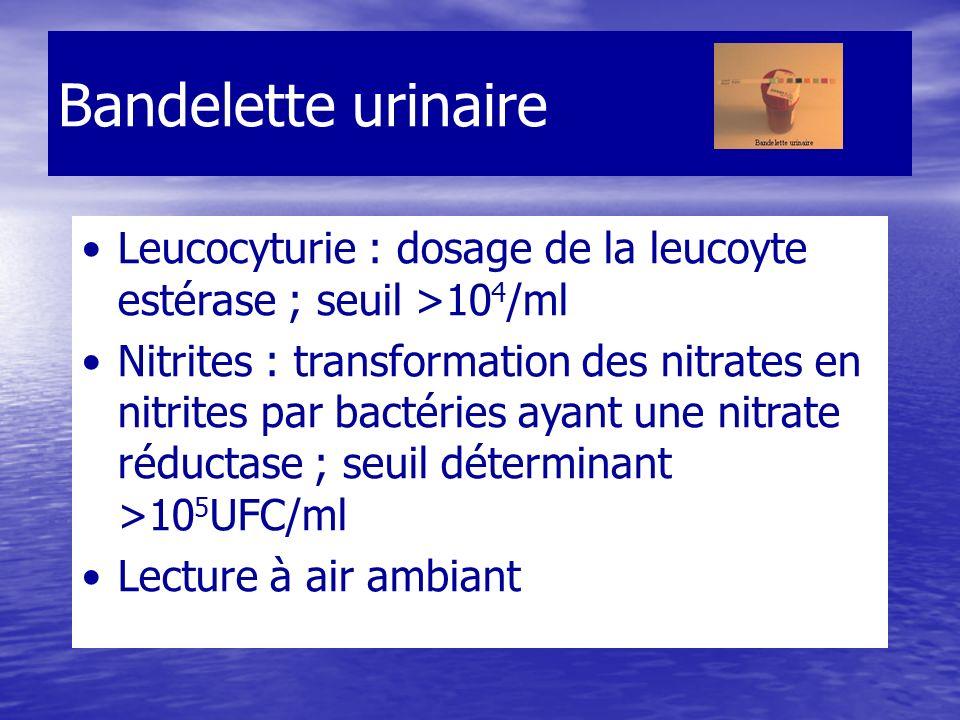 Bandelette urinaire Leucocyturie : dosage de la leucoyte estérase ; seuil >104/ml.