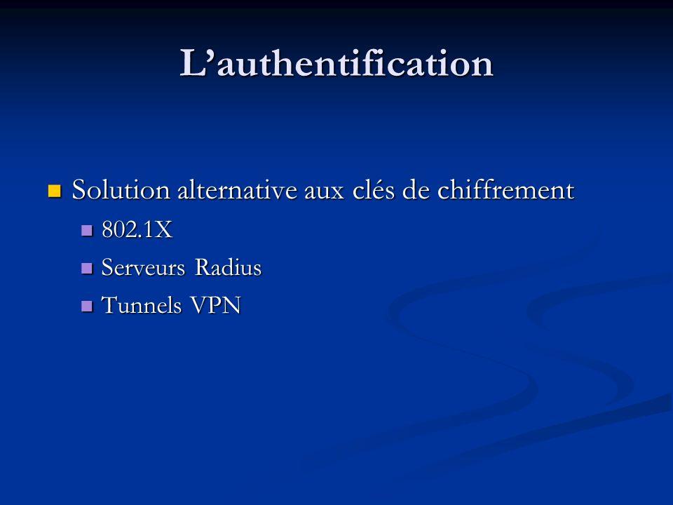 L'authentification Solution alternative aux clés de chiffrement 802.1X
