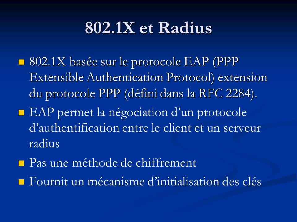 802.1X et Radius 802.1X basée sur le protocole EAP (PPP Extensible Authentication Protocol) extension du protocole PPP (défini dans la RFC 2284).