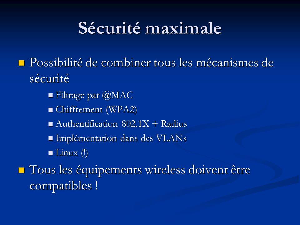 Sécurité maximale Possibilité de combiner tous les mécanismes de sécurité. Filtrage par @MAC. Chiffrement (WPA2)