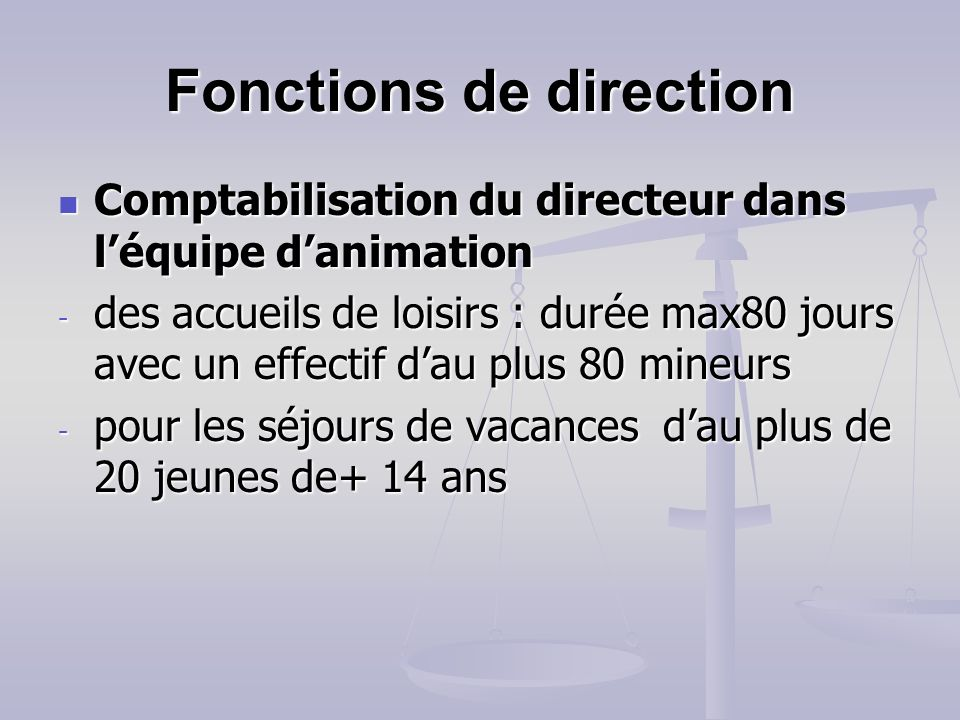 Fonctions de direction